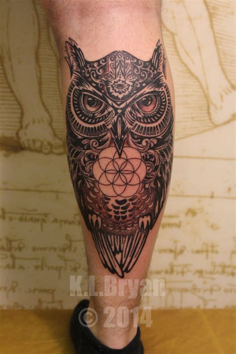 owl tattoo with hamza and sacred geometry by danktat on