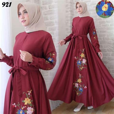 Dress Maxi Wanita Katun Jepang Busui Jumbo Putih Araselly maxi 921 katun baloteli bordir gamis modern murah