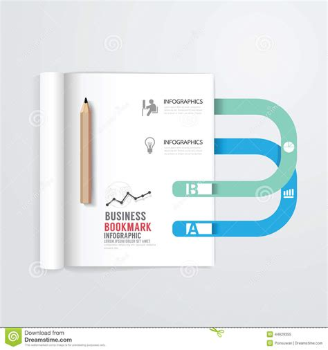 open book infographic vector free download infographic book open with bookmark concept business template stock vector image 44629355