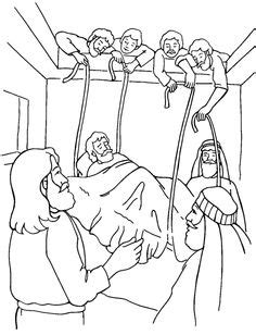 Testament Part 1/life Of Christ Early/man Lowered Through The Roof sketch template