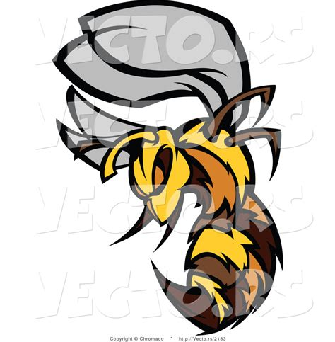vector of an aggressive cartoon bee mascot charging