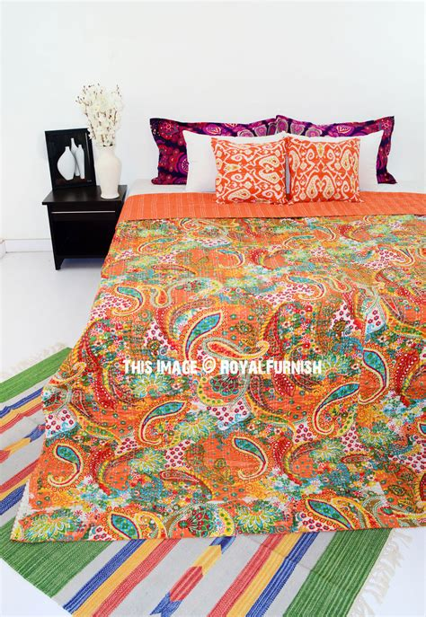patterned coverlets queen size paisley indian kantha quilt throw blanket