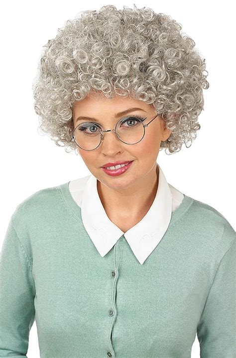 granny perm ladies granny perm fancy dress wig fancy me limited