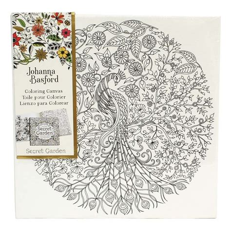 secret garden colouring book cheapest johanna basford pre printed canvas peacock 305mm x 305mm