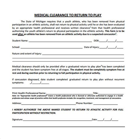 clearance for surgery template clearance form 12 free sles exles format