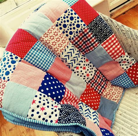 Personalised Patchwork Quilt - personalised patchwork blue quilt by the fairground