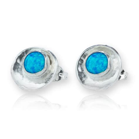 blue opal earrings blue opal oyster earrings lavan designer jewellery