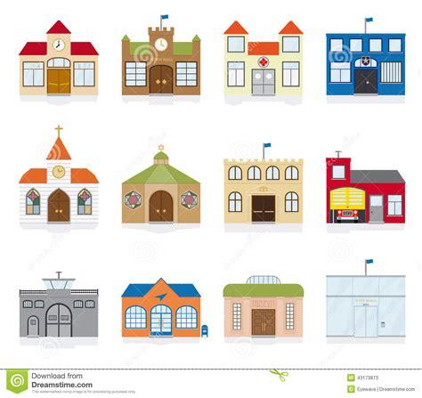 Gambrel Roof ejemplo del vector de los iconos del edificio p 250 blico