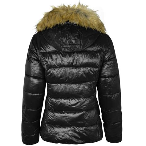 Womens Black Jacket With Fur Hood   Jacket To