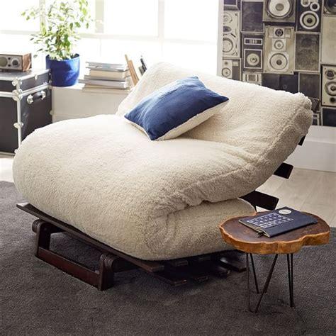 teen futons sherpa faux fur fleece futon pbteen