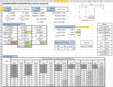 design approach exle excel spreadsheet design for engineering calculations