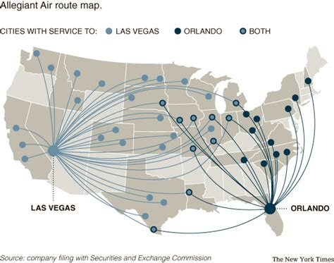 allegiant air route map the new york times gt business gt image gt allegiant air route map