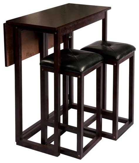 Espresso Bistro Table Bay Shore Collection Expandable Table And Stools Espresso Contemporary Indoor Pub And