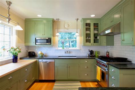 Green Kitchen Cabinets Painted Colorful Painted Kitchen Cabinets For Eye Catching Looks Mykitcheninterior