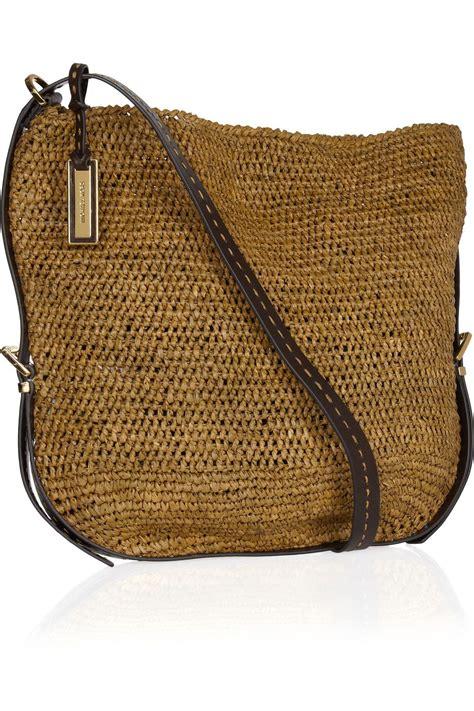large raffia straw crossbody bag by michael kors for