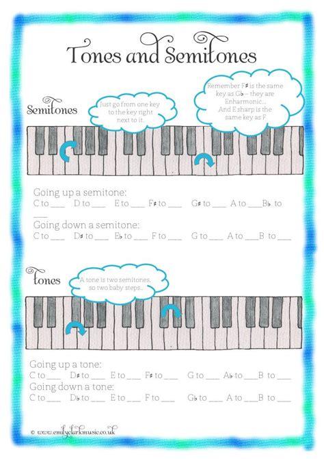 tones and semitones and more great worksheets musik