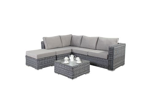 small rattan 2 seater corner sofa set in platinum grey 163 749 99