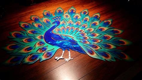 highly detailed painted peacock plasma cut metal wall