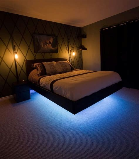 led lights bed headboards floating bedframe i made this weekend floating bed this