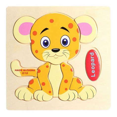 imagenes educativos animados leopard en forma de rompecabezas bloques de madera de