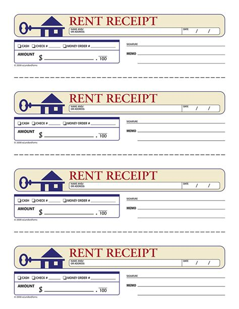 4 printable rent receipt printable receipt