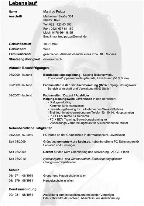 Lebenslauf Muster Handgeschrieben Lebenslauf Manfred Pulzer