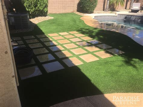 astro turf backyard artificial turf gives phoenix backyard a tropical look