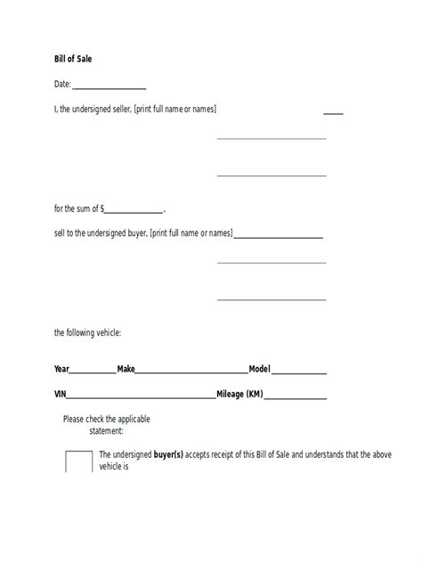 free bill of sale for car template or car deposit form free uk