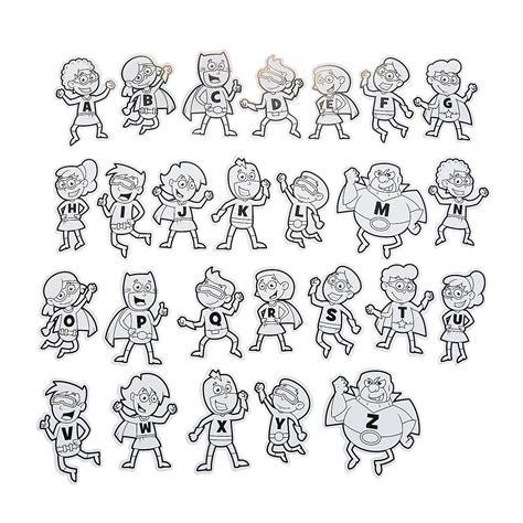 superhero alphabet coloring page color your own superhero alphabet cutouts classroom
