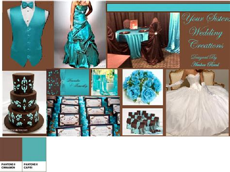 turquoise and chocolate brown pantone wedding styleboard the dessy