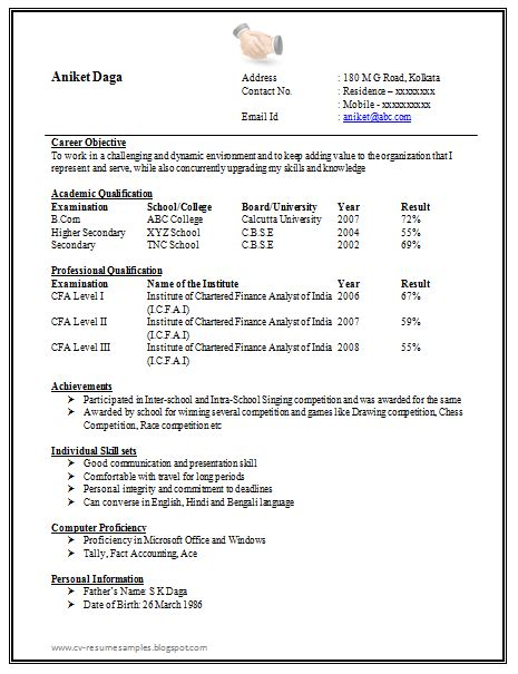 Resume Format Doc by 10000 Cv And Resume Sles With Free Awesome One Page Resume Sle Doc For Freshers