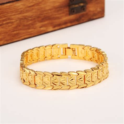 eternal classics wide bracelet  real solid yellow gold gf dubai bangle women mens trendy