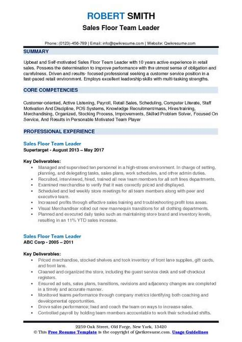 team leader resume 14 sample techtrontechnologies com