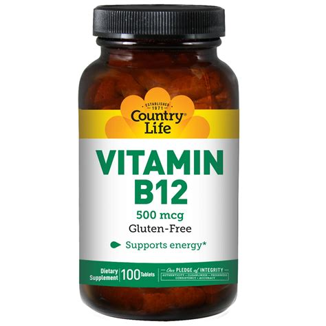 Vit B12 Country Vitamin B12 500 Mcg 100 Tablets Iherb