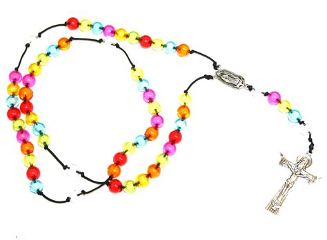 Make your own rosary beads   multi coloured acrylic beads on cord