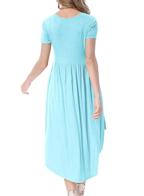 casual swing dress cheap light blue short sleeve high low pleated casual
