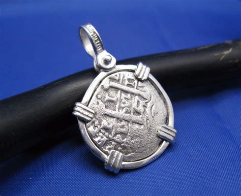 1 reale pirate treasure coin replica pendant in sterling
