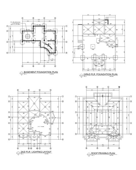 roof deck plan foundation 2d cad drawings