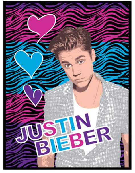 justin bieber zebra print hearts large plush bed blanket