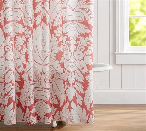 damask shower curtains damask linen shower curtain pottery barn
