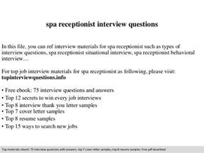 spa receptionist questions