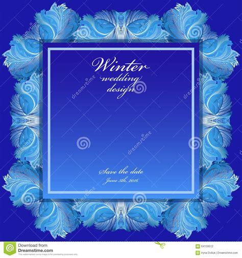 winter frozen glass background blue wedding frame design