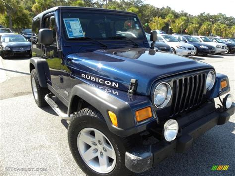 dark blue jeep rubicon 2004 patriot blue pearl jeep wrangler rubicon 4x4