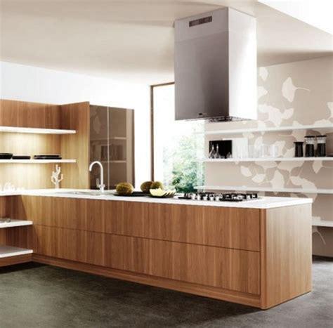 Wood Veneer For Kitchen Cabinets Cocinas De Dise 241 O Con Estantes