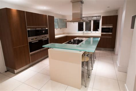 large siematic used kitchen island with raised seating