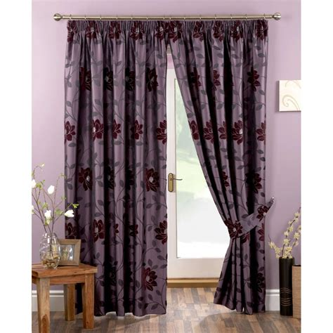 floral ready made curtains uk sundour carnaby aubergine floral pencil pleat ready made