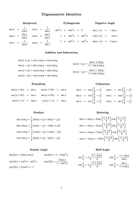 pythagorean identities sheet document sle