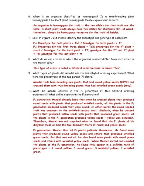 why are plants green worksheet 7 2 mendel s laws of heredity part 3 pp 258 259 answer key