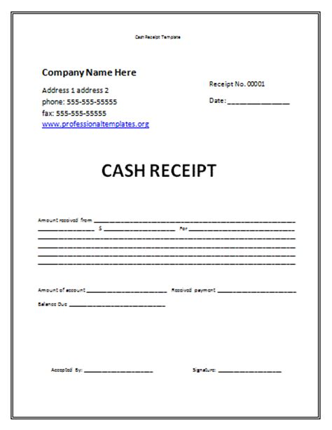 cash receipt template professional word templates