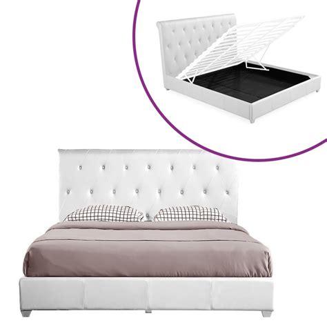 mecanisme lit relevable deco in lit coffre blanc 160 cm avec rangement